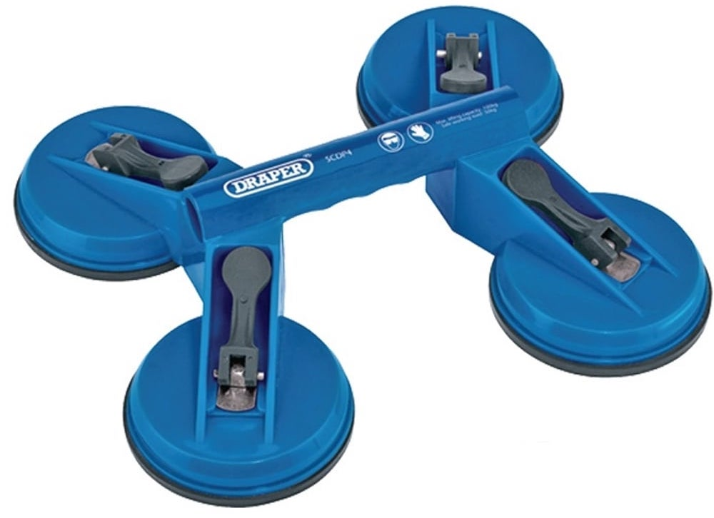 a blue suction lifter with four suction cups with a central handle for a manual handling equipment list