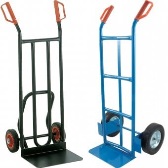 two sack trucks next to one another. Sack trucks for a manual handling equipment list.