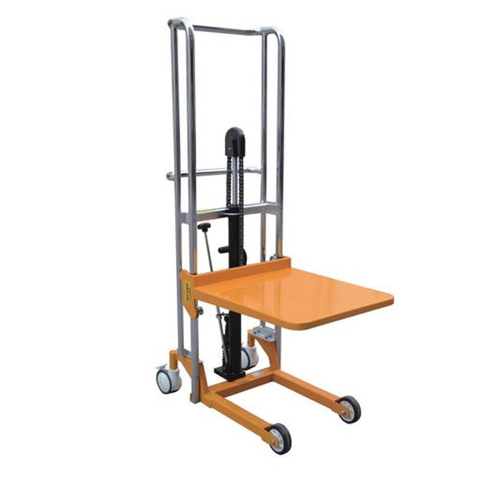 an orange pallet stacker machine for a manual handling equipment list.
