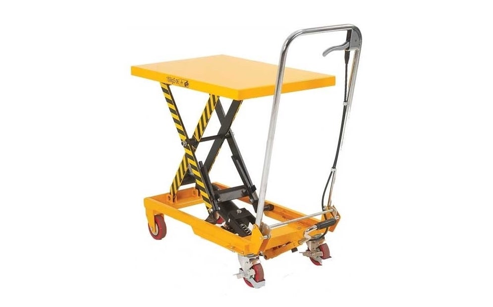 a yellow scissor lift table with silver handle for a manual handling equipment list