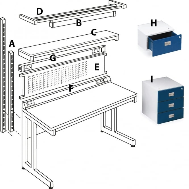 Accessories for 1500mm General Purpose & Cantilever Workbenches