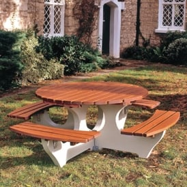 Big Timber/Concrete Picnic Table - Circular