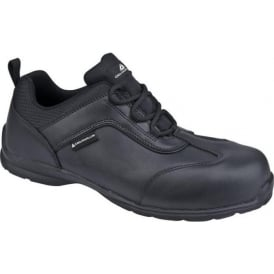 Black Leather Safety Trainer Shoes S1P SRC