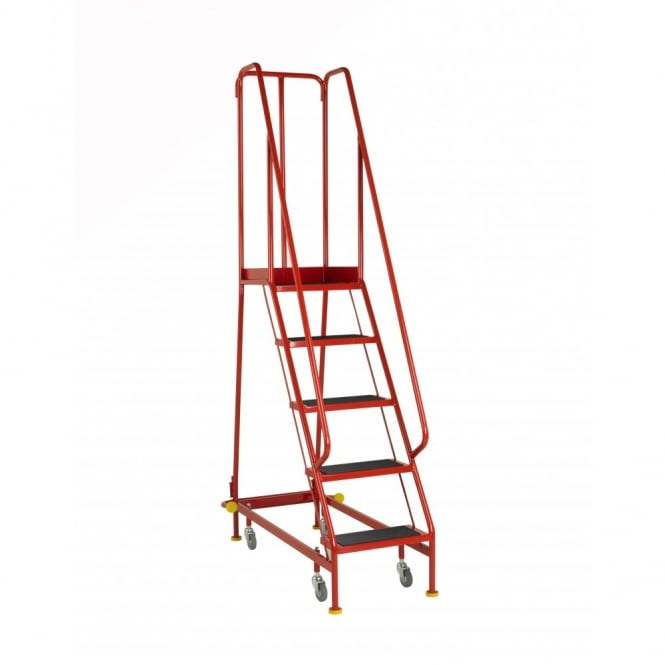 BSI Kitemarked Narrow Aisle Mobile Safety Steps with Ribbed Rubber Treads - BS EN131-7