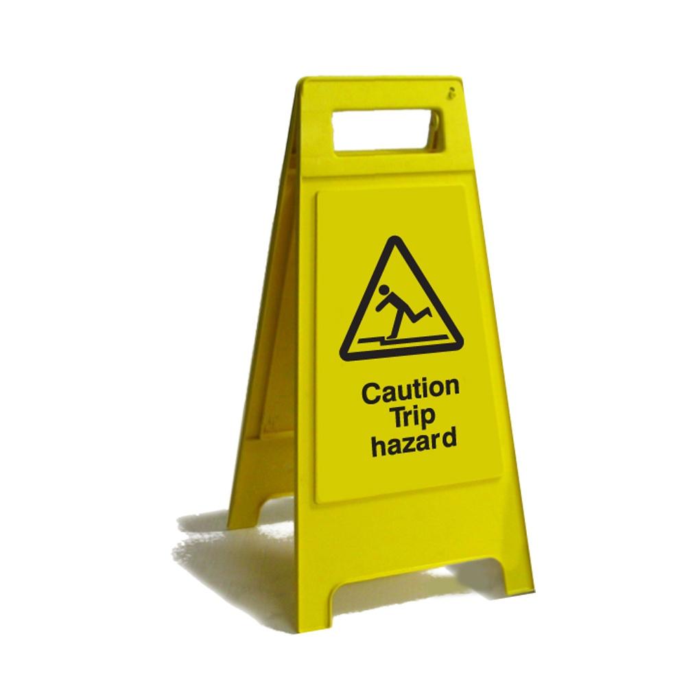 Caution trip hazard free standing floor sign janitorial for Floor banner