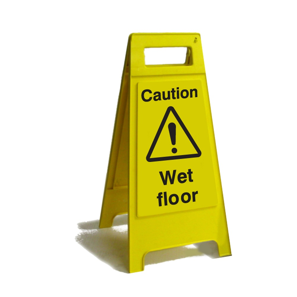 accident floor wet caution bilingual warning sign yellow itm prevention sided
