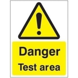 Danger test area sign