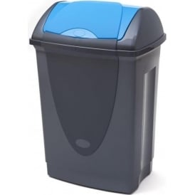Dark Grey Waste Bins with Coloured Swing Top Lid Cap: 50lt