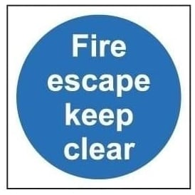 Door Sign: Fire Escape Keep Clear