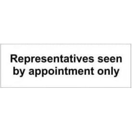 Door Sign: Representatives seen by appointment only