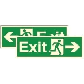 Double Sided Hanging Sign - Photoluminescent Exit