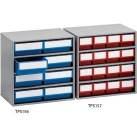 Drawer Cabinets with coloured or clear bins