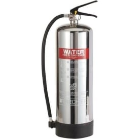 Elite Polished Stainless Steel Water Fire Extinguisher - 9lt