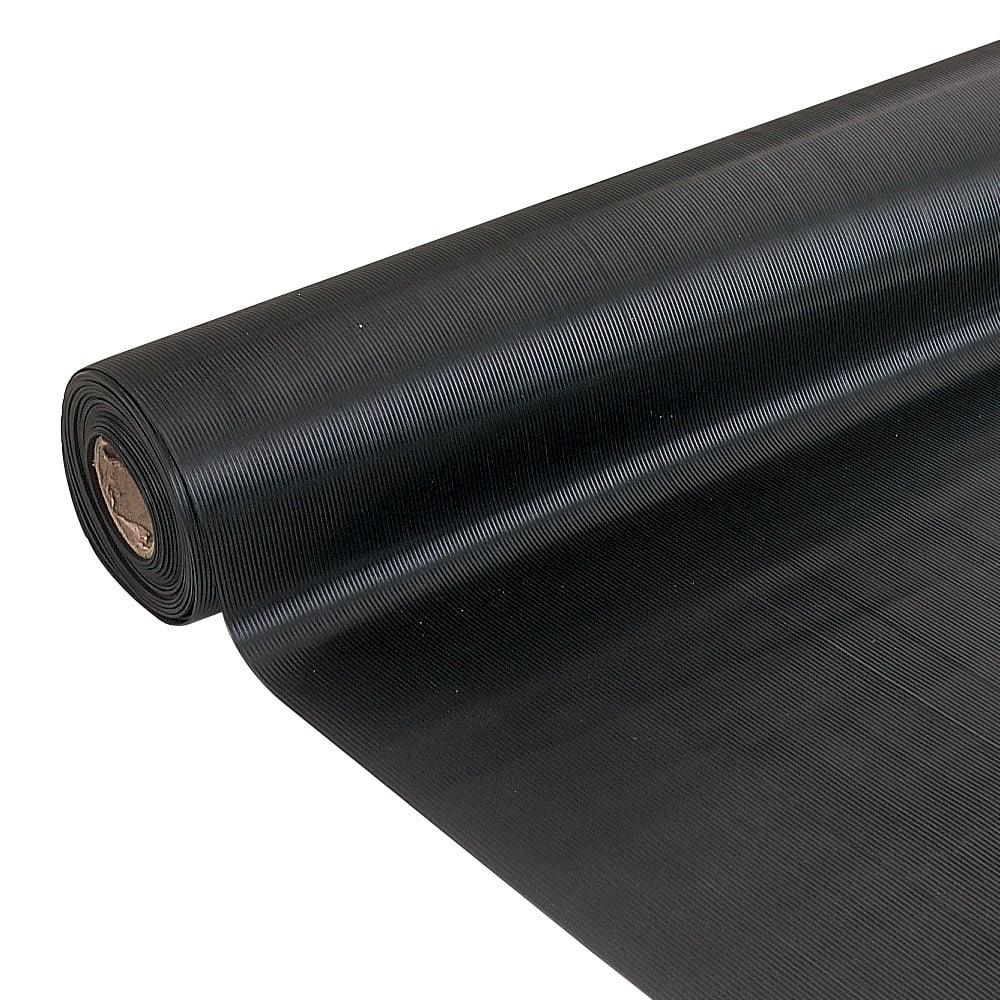 Ribbed Rubber Matting 10mt Roll Anti Slip Parrs