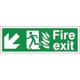 Fire Exit - Arrow Down Left Signs - Hospital Compliant