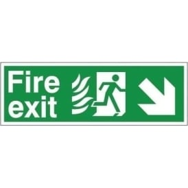 Fire Exit - Arrow Down Right Signs - Hospital Compliant