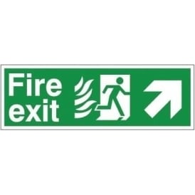 Fire Exit - Arrow Up Right Signs - Hospital Compliant