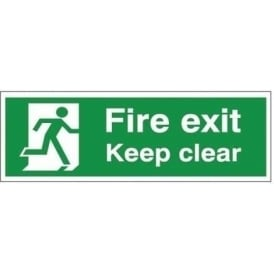 Fire exit Keep clear - man running Right Signs