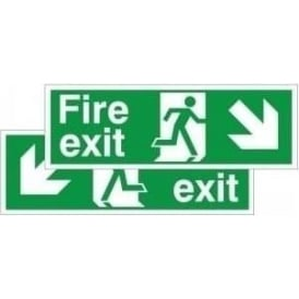 Fire exit running man arrow down left right - Double Sided Hanging Sign