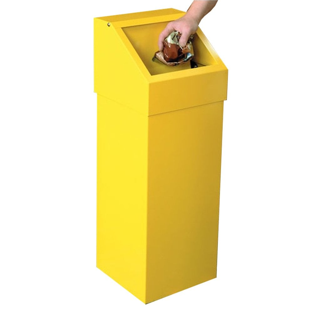 Fire Retardant Self Closing Steel Litter Bins Cap: 60lt