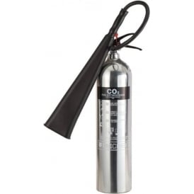 Firechief Elite Polished Stainless Steel CO2 Fire Extinguisher - 2kg