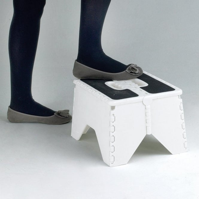 Fold-flat White Plastic Step Stool