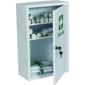 Fully stocked First Aid Metal Cabinet: 1-10 or 21-50 persons