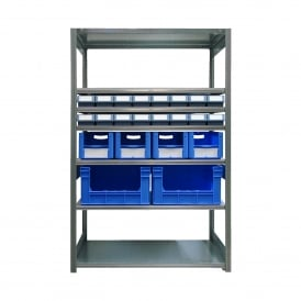 Galvanised Shelving with 22 Euro Containers - 400mm Deep