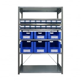 Galvanised Shelving with 22 Euro Containers - 600mm Deep