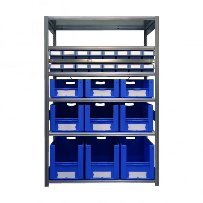 Galvanised Shelving with 25 Euro Containers - 600mm Deep