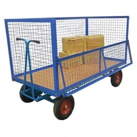 Hand Drawn Turntable Trucks with wire mesh superstructure sides/ends Cap: 750kg