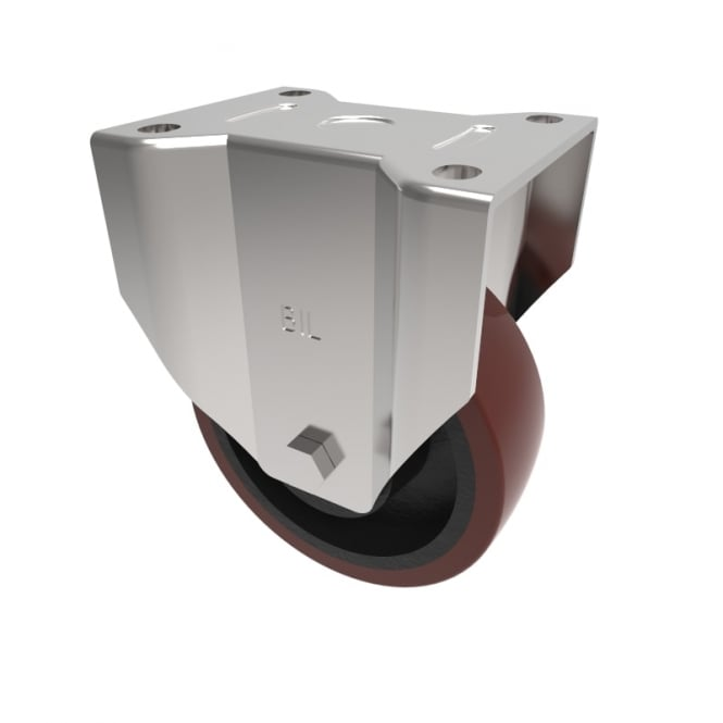 Heavy Duty Castors with Top Plate Fixed Non marking Brown Polyurethene Cast Iron Centre