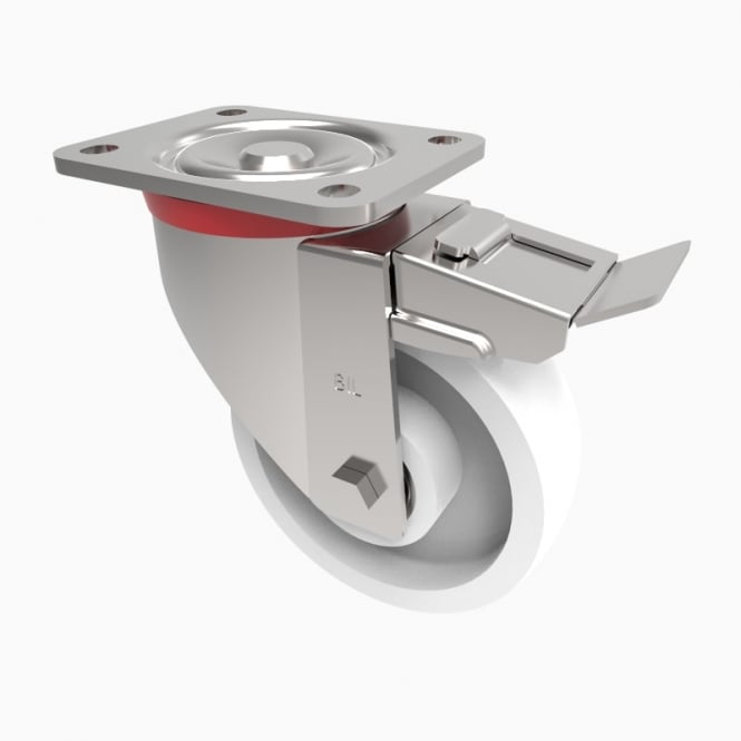 Heavy Duty Castors with Top Plate Swivel with Brake White Nylon
