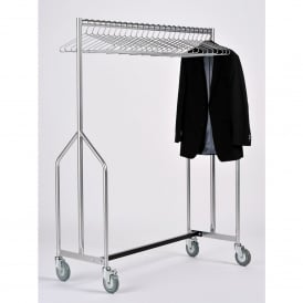 Heavy Duty Mobile Garment Rail with Chrome Coat Hangers