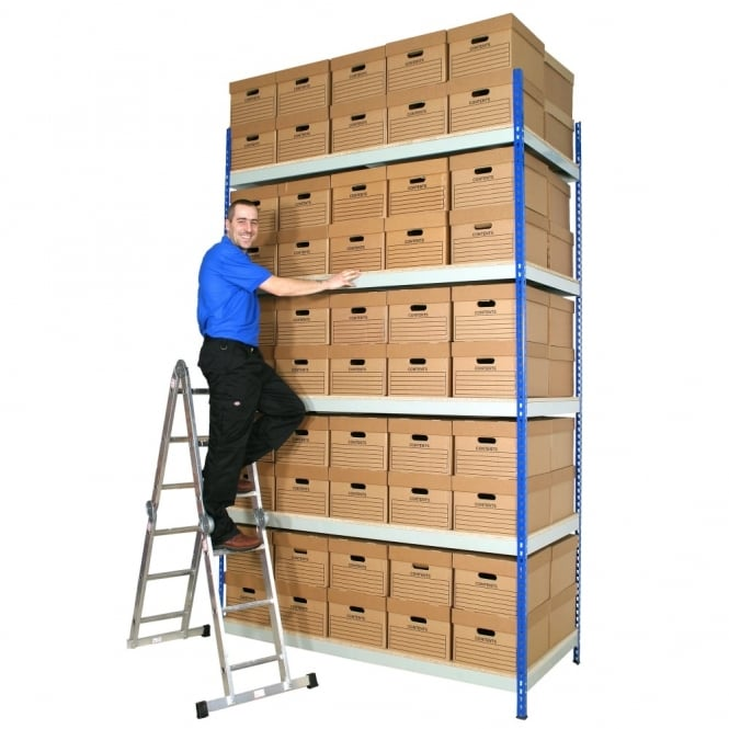 Heavy Duty Shelving with Archive Boxes - Depth: 915mm