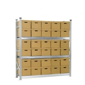 Heavy Duty Zinc Plated Archive Shelving with 30 Boxes