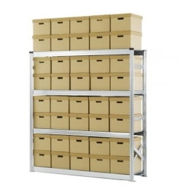 Heavy Duty Zinc Plated Archive Shelving with 40 Boxes