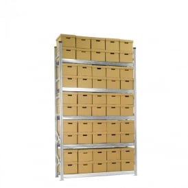 Heavy Duty Zinc Plated Archive Shelving with 50 Boxes
