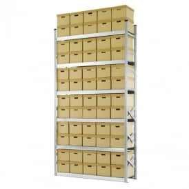 Heavy Duty Zinc Plated Archive Shelving with 60 Boxes