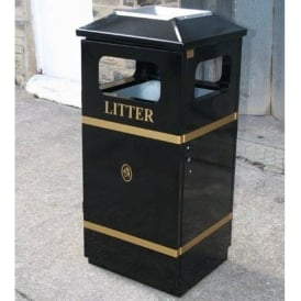 Herald Steel Litter Bin with Ashtray Lid Cap: 110lt