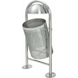 Hooped Stainless Steel Litter Bin Cap: 35lt