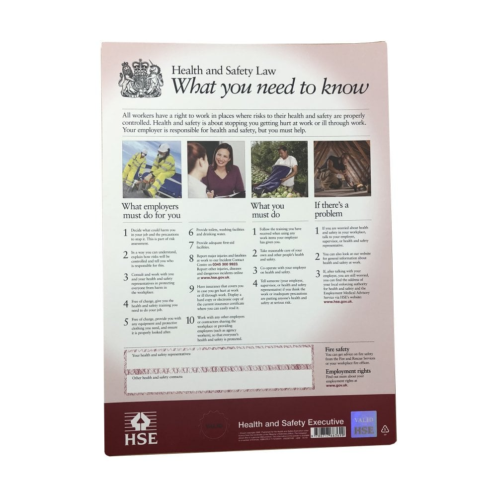 HSE Health and Safety Law Poster from Parrs - Workplace ...