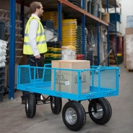 Industrial Mesh Turntable Truck with REACH compliant wheels 1200L x 600W Platform Cap: 500kg