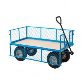 Industrial Mesh Turntable Truck with REACH compliant wheels Plywood base 1200L x 600W Platform Cap: 500kg