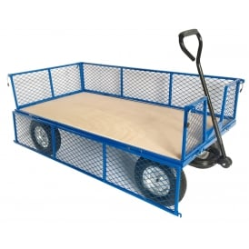 Industrial Mesh Turntable Truck with REACH compliant wheels Plywood base 1500L x 750W Platform Cap: 500kg
