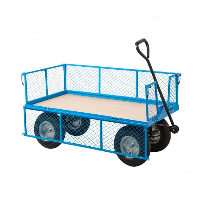 Industrial Mesh Turntable Truck with REACH compliant wheels Plywood base Cap: 400kg