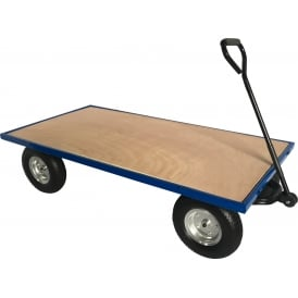 Industrial Turntable Truck with REACH compliant wheels Flat Bed with Plywood Base 1500L x 750W Platform Cap: 500kg
