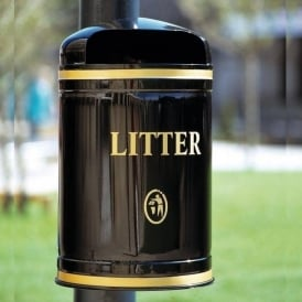 Knight Domed Top Wall/Post Mounted Litter Bin Cap: 40lt