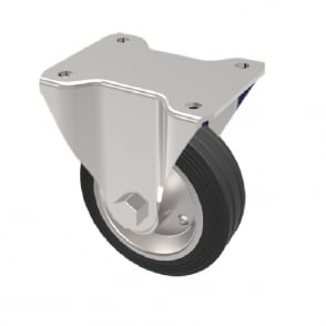 Medium Duty Castors with Top Plate Fixed Black Rubber Metal Centre