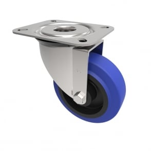 Medium Duty Castors with Top Plate Swivel Non Marking Blue Rubber Nylon centre